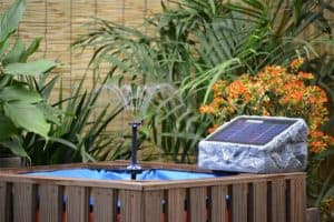 ASC Solar Stone Water Pump Kit with Battery and LED Ring Light