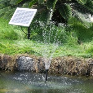 Sunnydaze Outdoor Solar Pump and Panel Fountain Kit with Battery Pack and LED Light