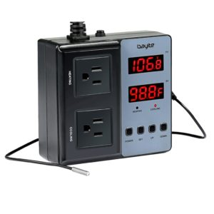 bayite Temperature Controller BTC201 Dual Pre-Wired Digital Outlet Thermostat Plug with 2 Stage Heating and Cooling Mode